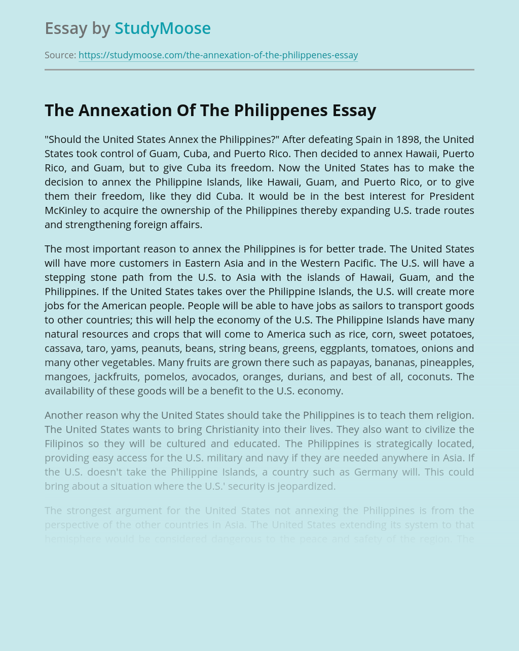 The Annexation Of The Philippenes