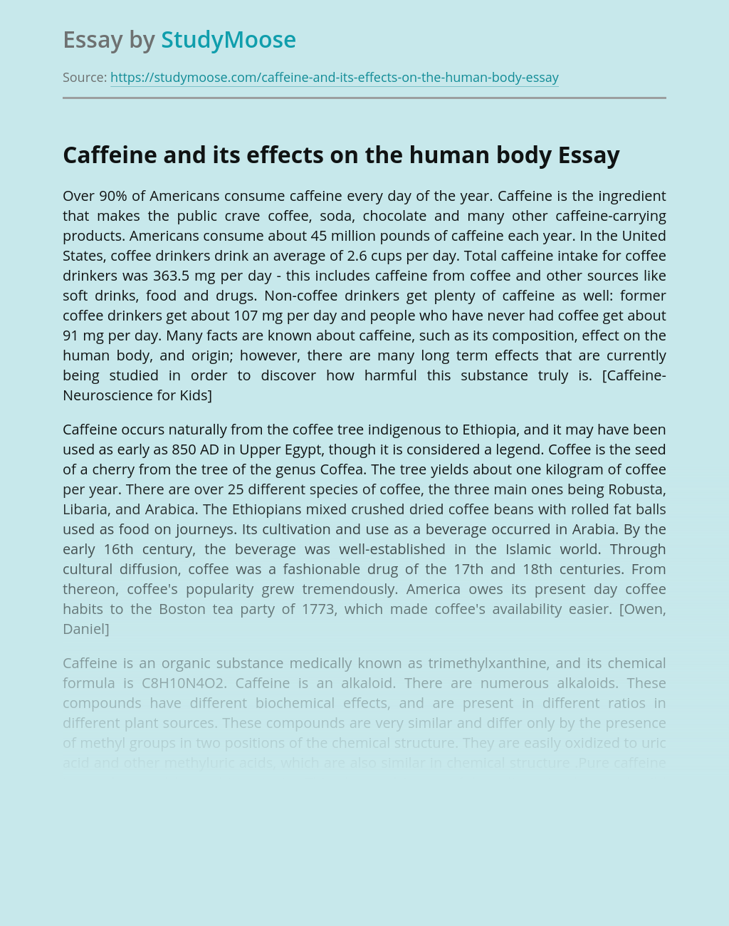 Free essays on caffeine sample research paper recycling