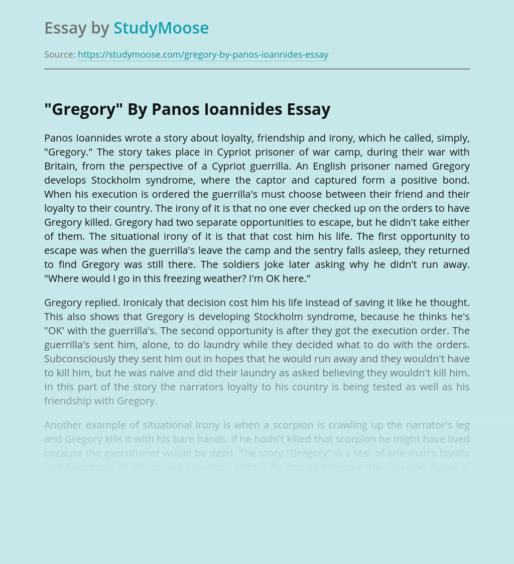 Friendship in Gregory By Panos Ioannides