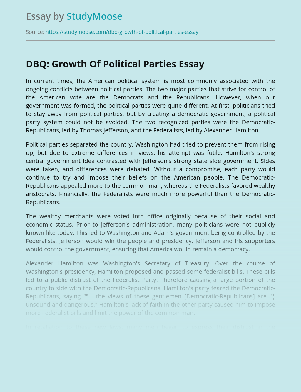 DBQ: Growth Of Political Parties