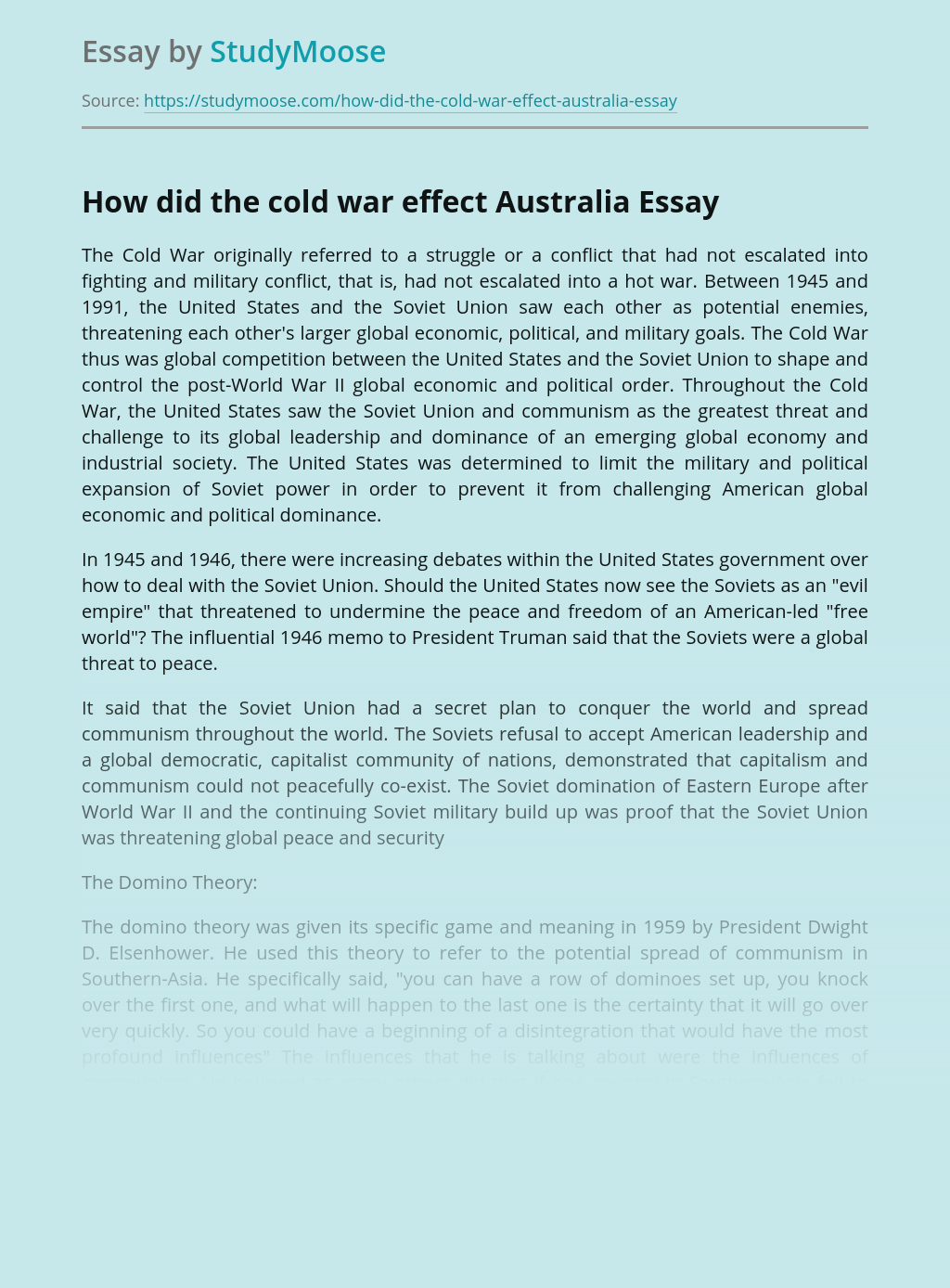 How did the cold war effect Australia