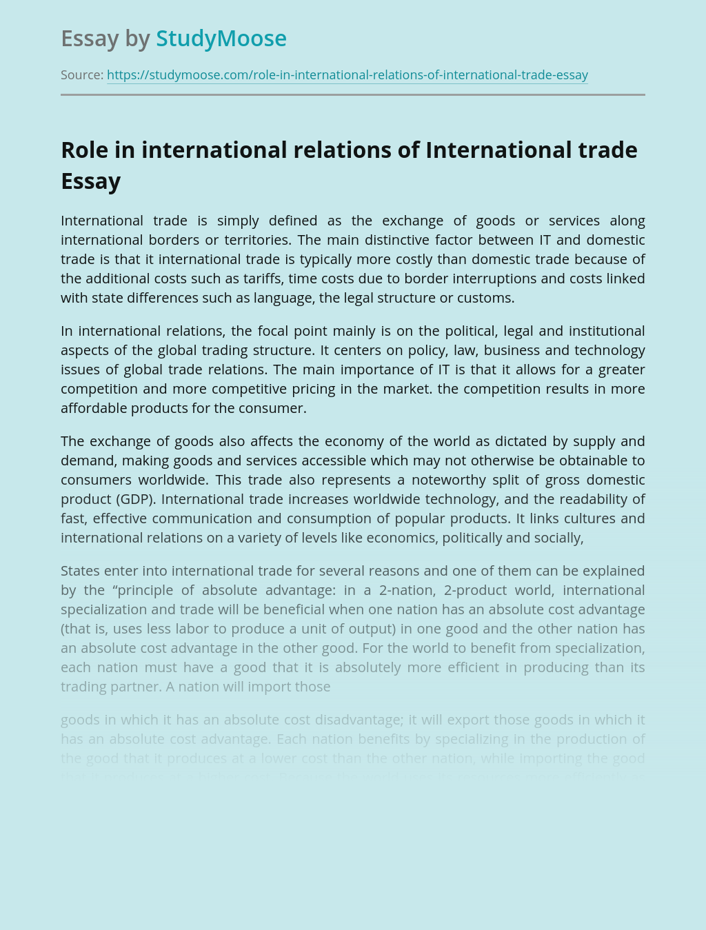 The Role of Trade in International Relations