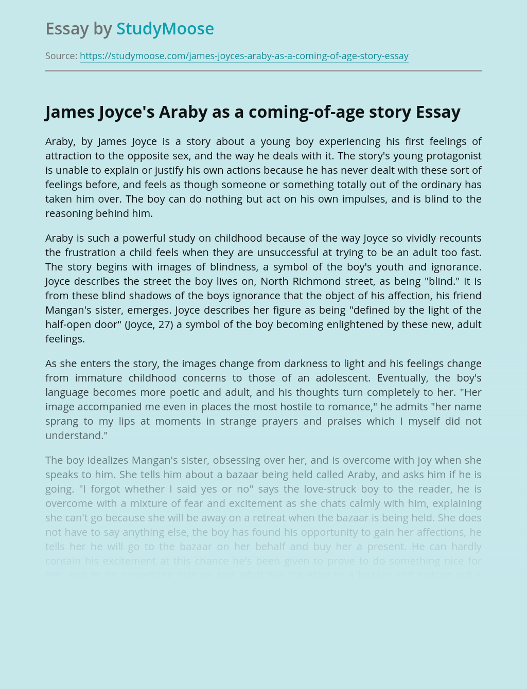 James Joyce's Araby as a coming-of-age story