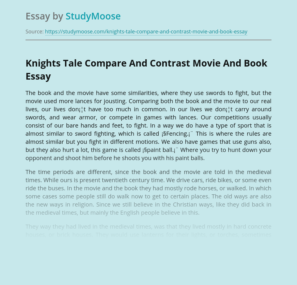 Knights Tale Compare And Contrast Movie And Book