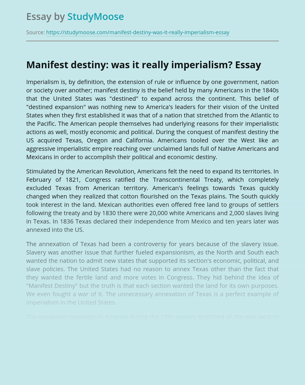 Manifest Destiny: Was It Really Imperialism?