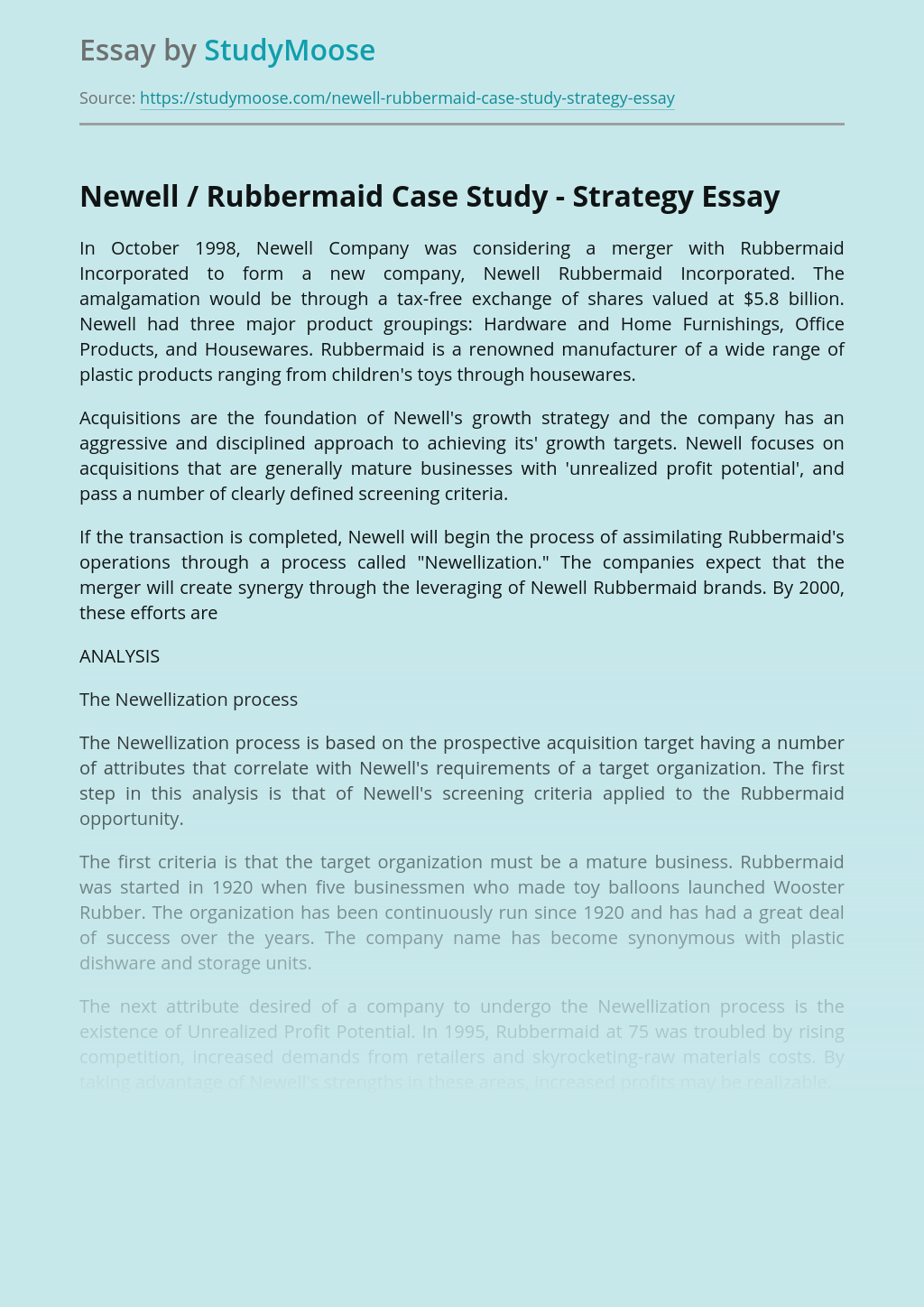 Newell / Rubbermaid Case Study - Strategy