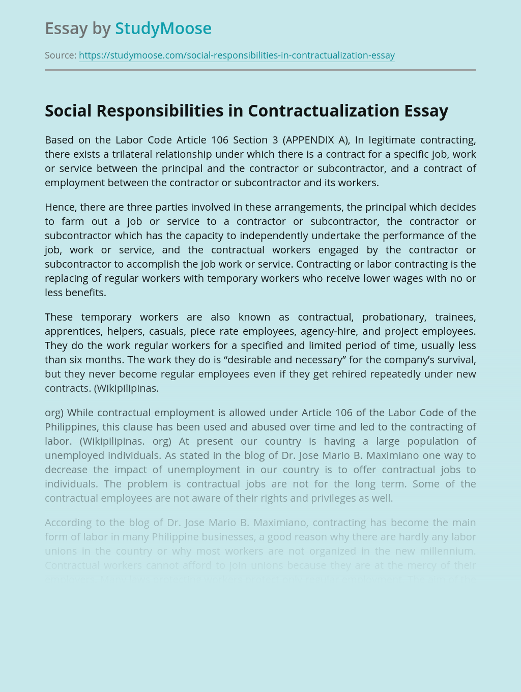 Social Responsibilities in Contractualization Way of Employment