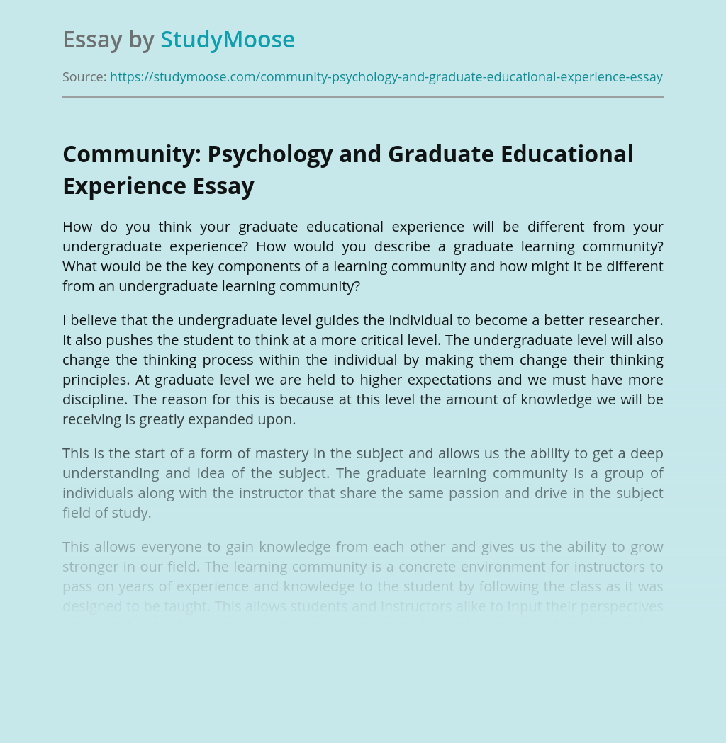 Community: Psychology and Graduate Educational Experience