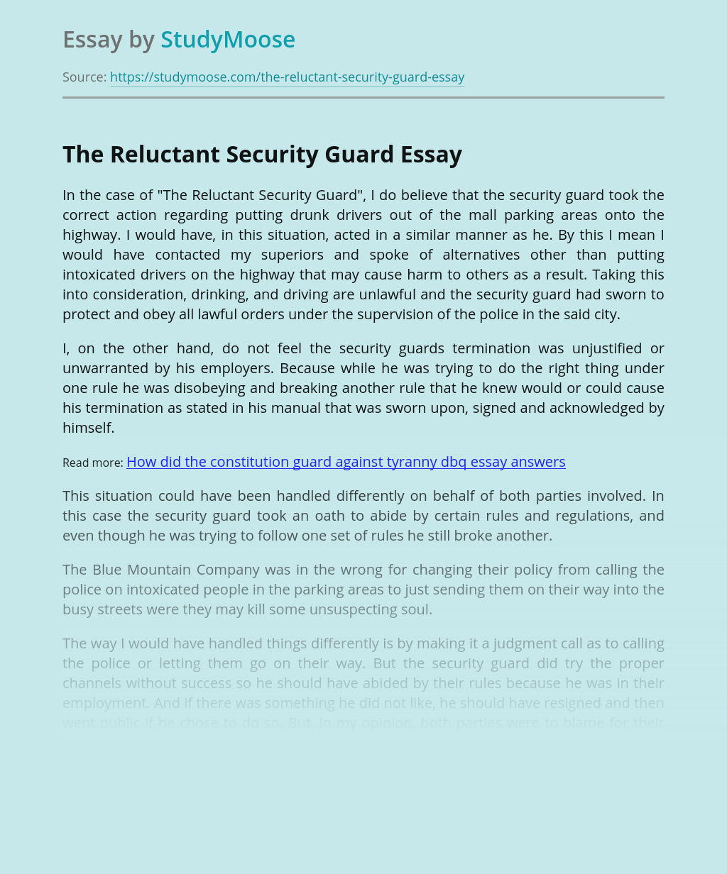 The Reluctant Security Guard