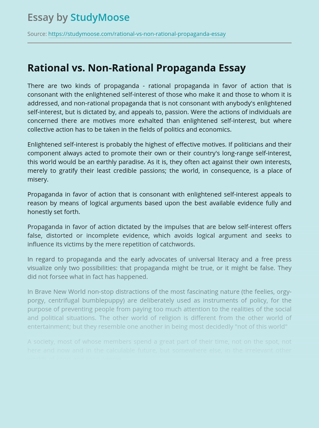 Rational vs. Non-Rational Propaganda