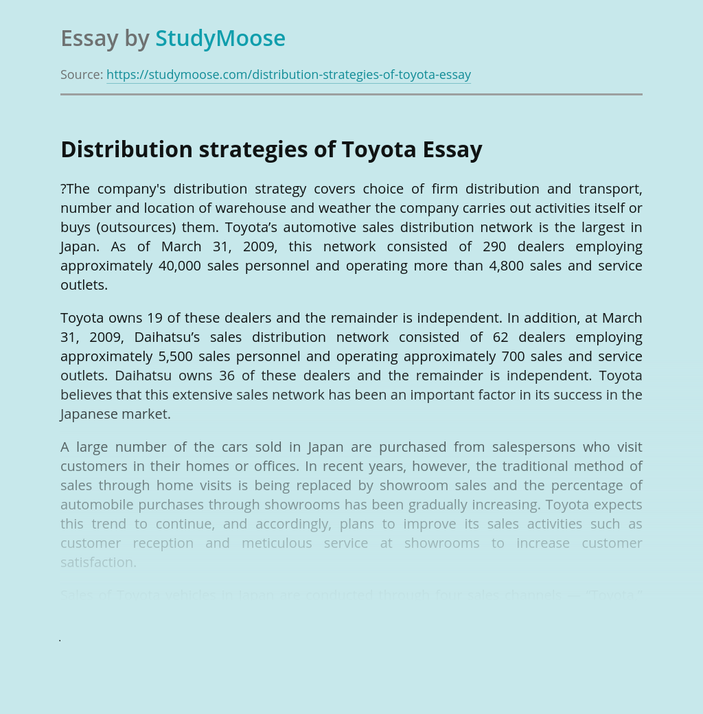Distribution strategies of Toyota Company