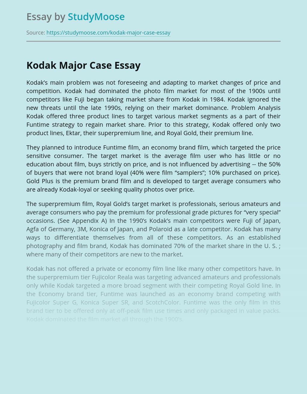 Alternative Marketing Solutions of Kodak