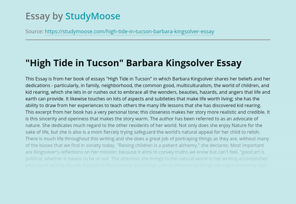 """High Tide in Tucson"" Barbara Kingsolver"