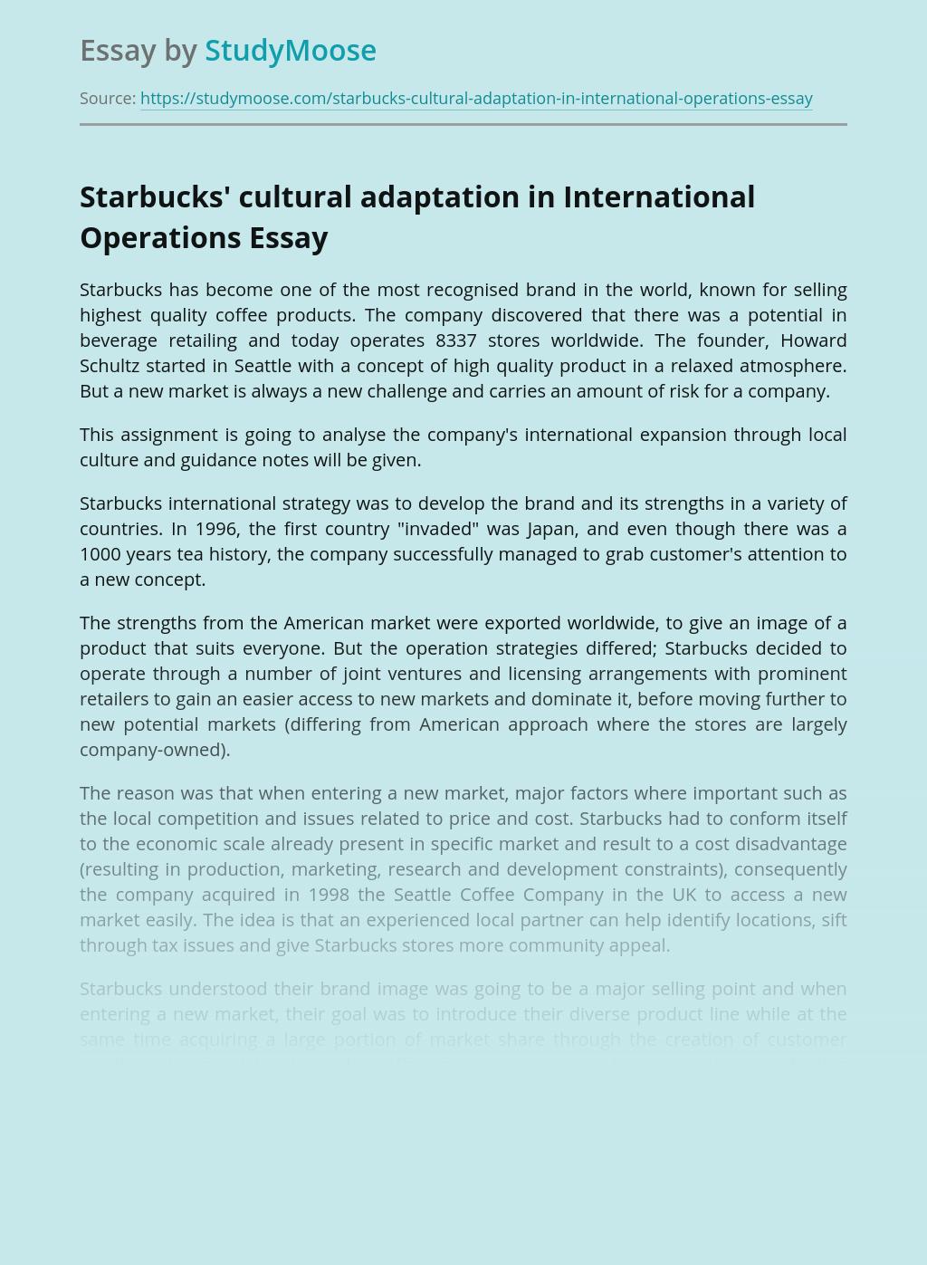 Starbucks' cultural adaptation in International Operations