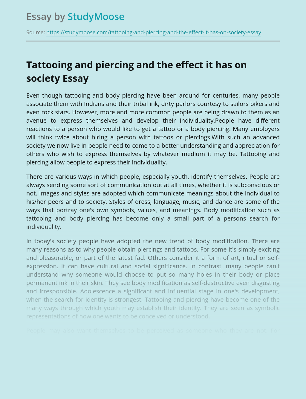 Thesis statement about tattoos in the workplace world war 2 photo essay