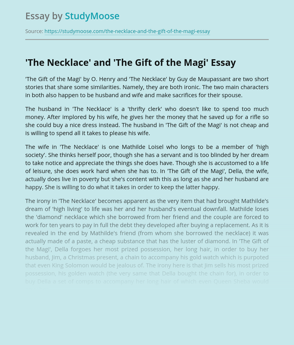 'The Necklace' and 'The Gift of the Magi'