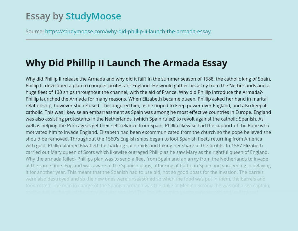 Phillip II and The Armada in History of England