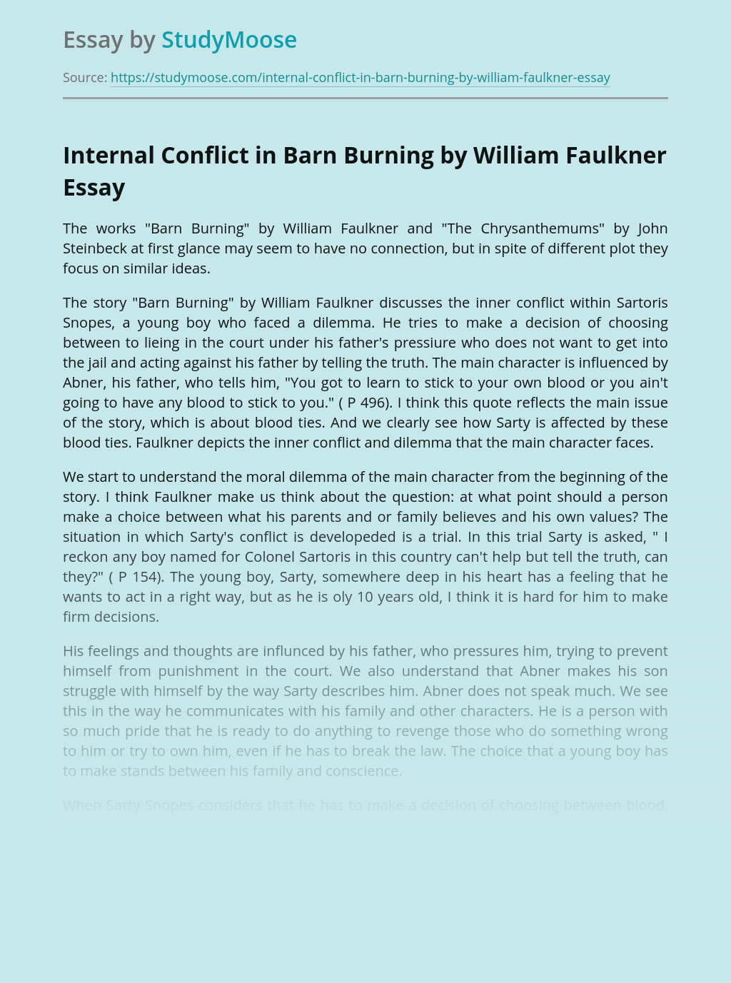 Internal Conflict in Barn Burning by William Faulkner