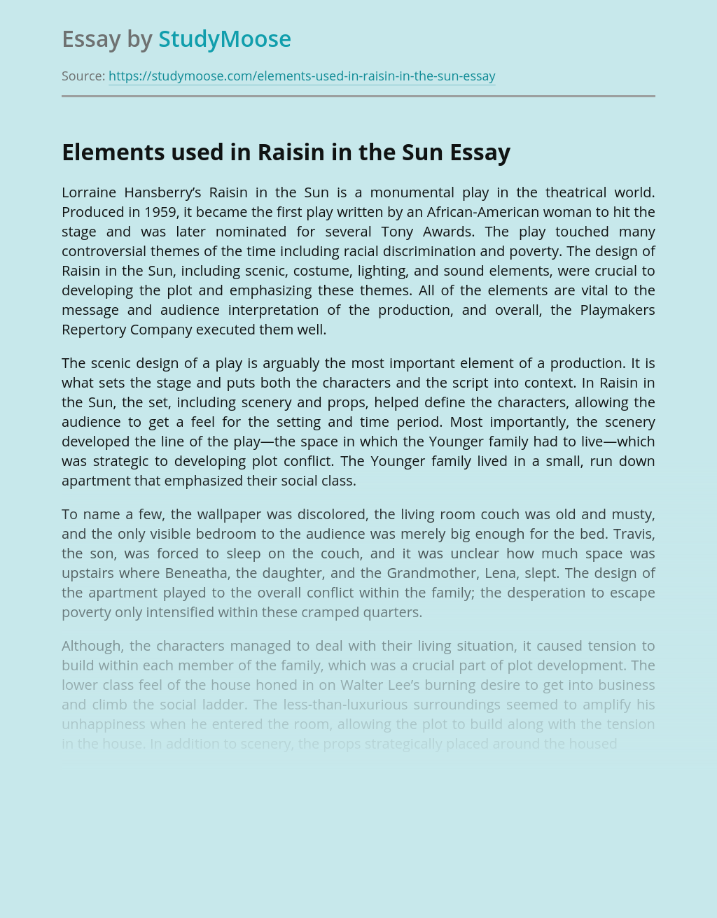 Elements used in Raisin in the Sun