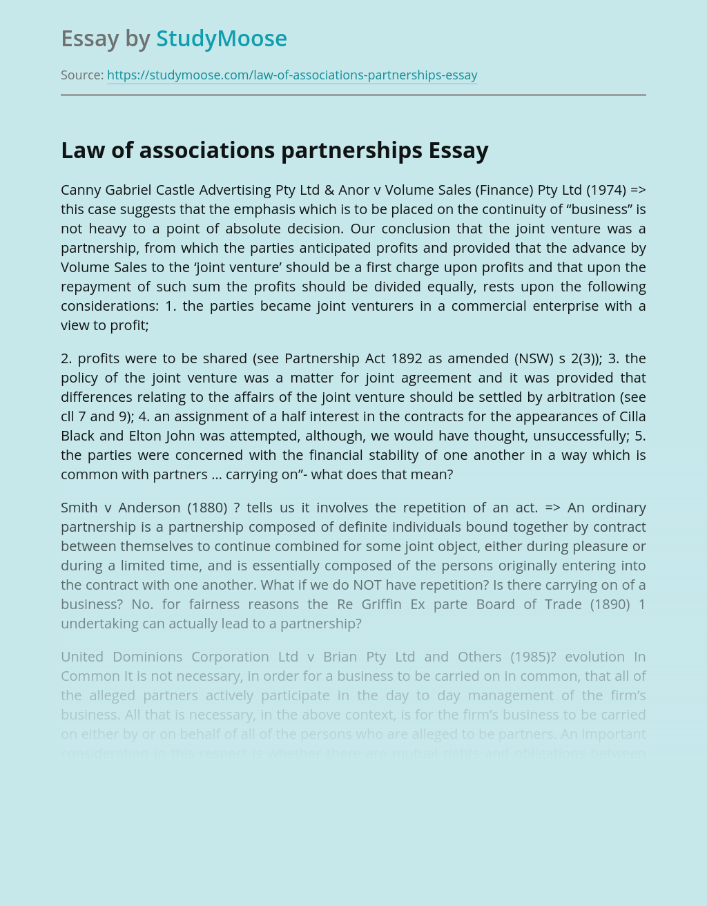 Law of associations partnerships