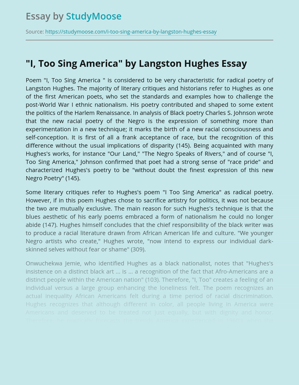 """I, Too Sing America"" by Langston Hughes"