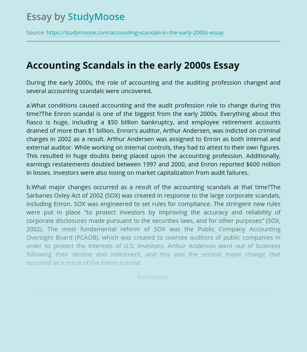 Accounting Scandals in the early 2000s