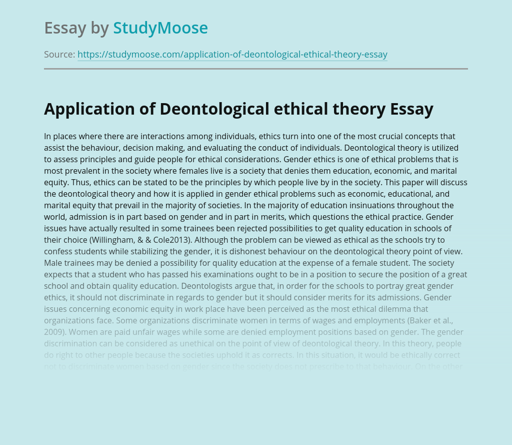 Deontological Ethical Theory Research