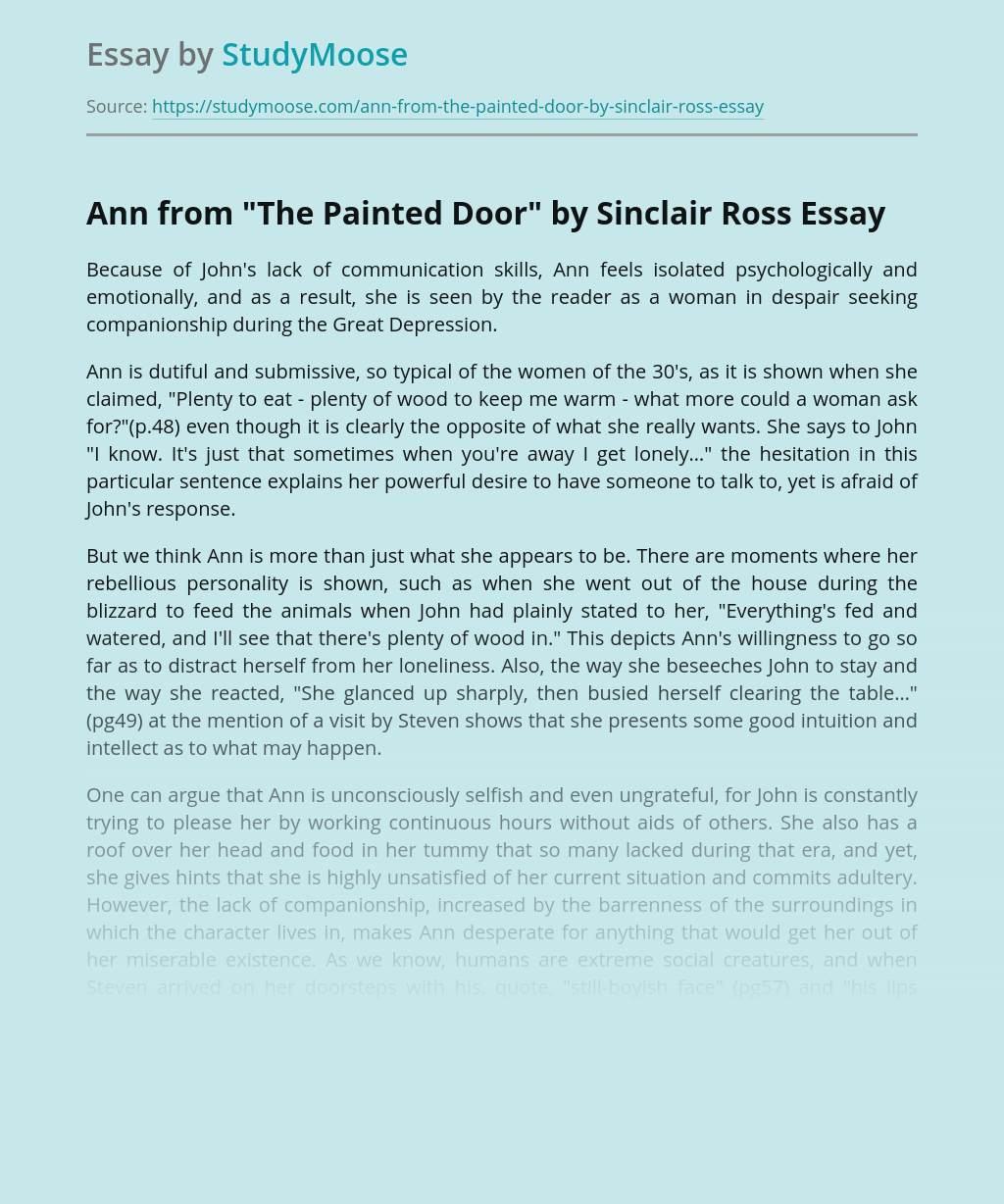 """Ann from """"The Painted Door"""" by Sinclair Ross"""