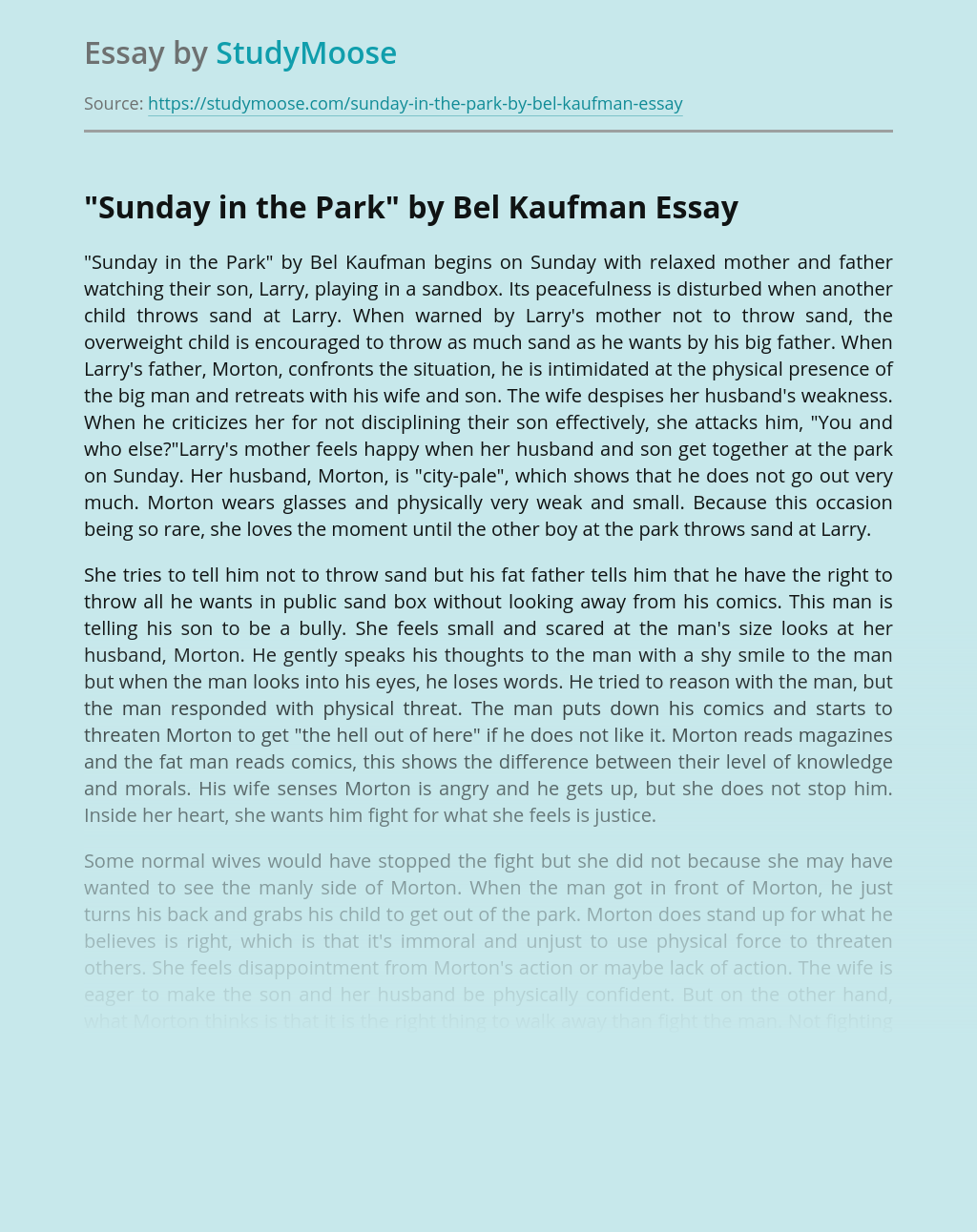 """""""Sunday in the Park"""" by Bel Kaufman"""