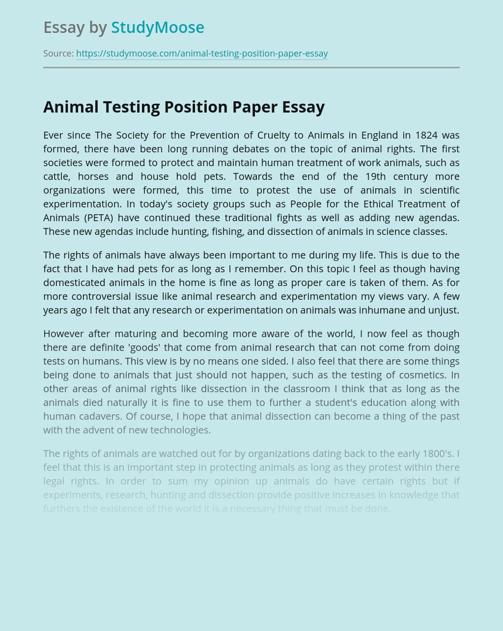 Animal Testing Position Paper