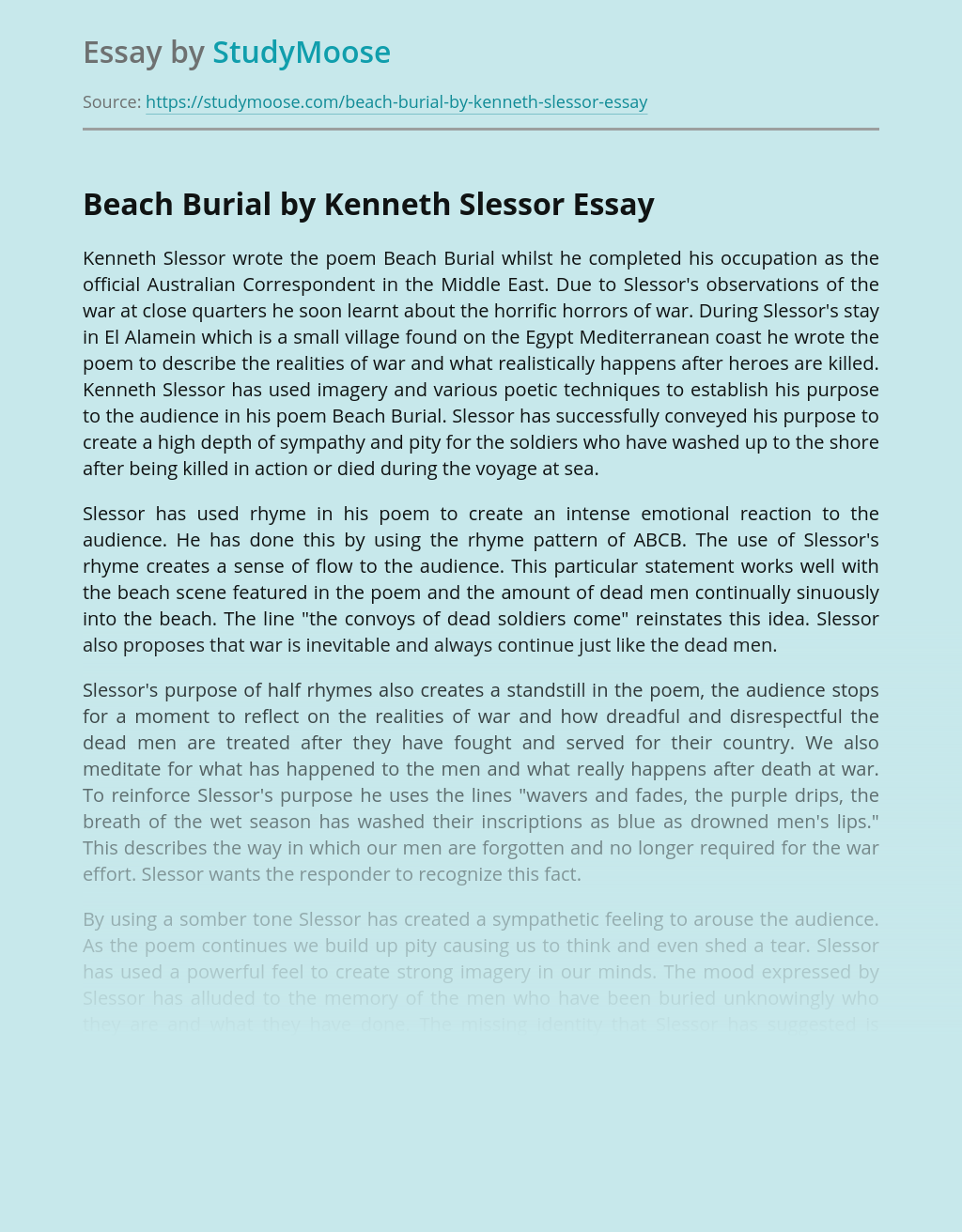 Beach Burial By Kenneth Slessor