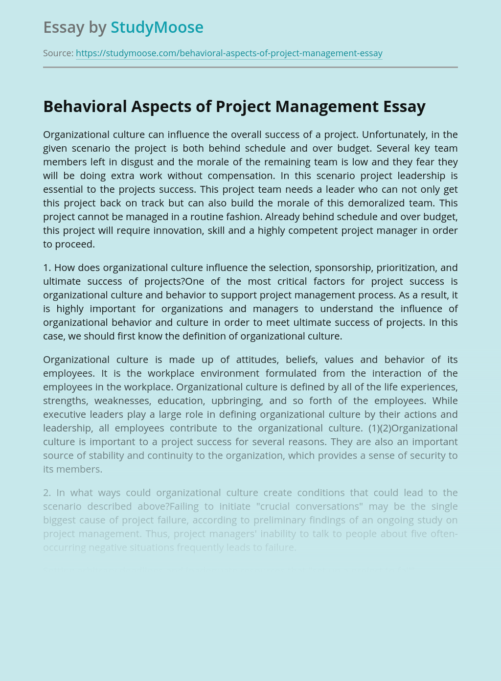 Behavioral Aspects of Project Management