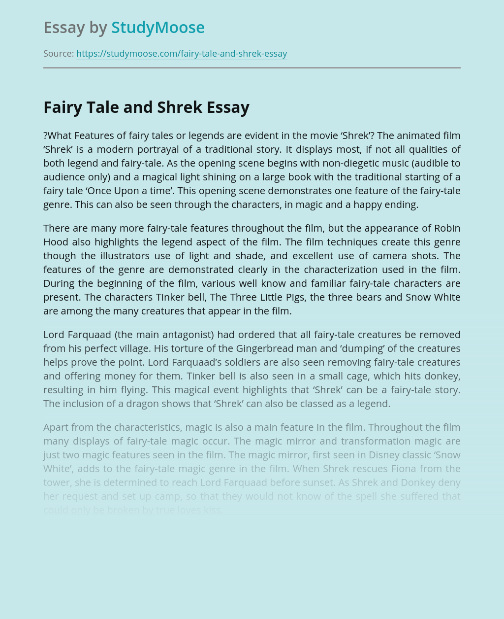 Fairy Tale as a Component of Movie Shrek