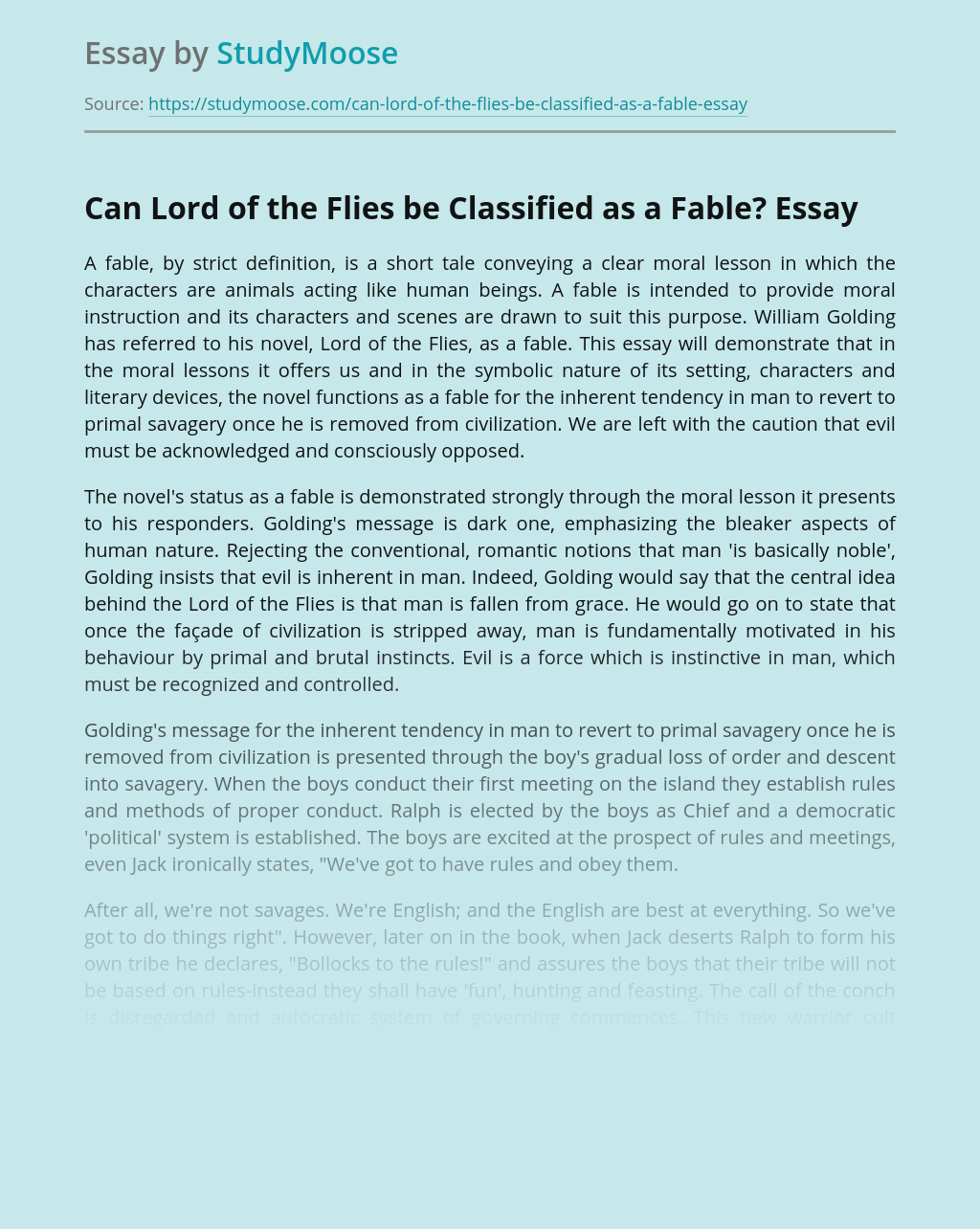 Can Lord of the Flies be Classified as a Fable?