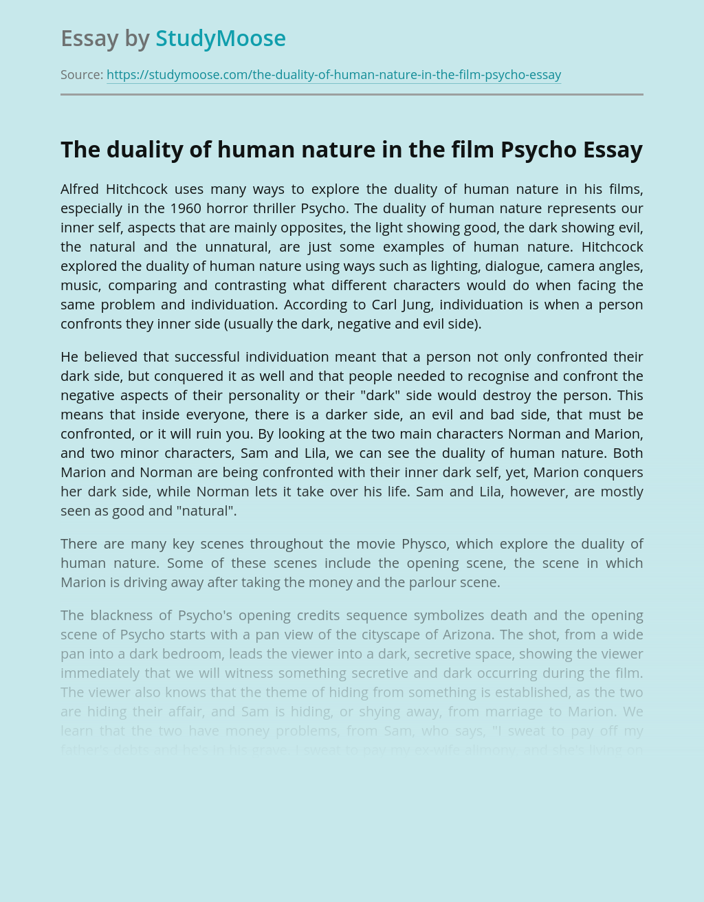 The duality of human nature in the film Psycho