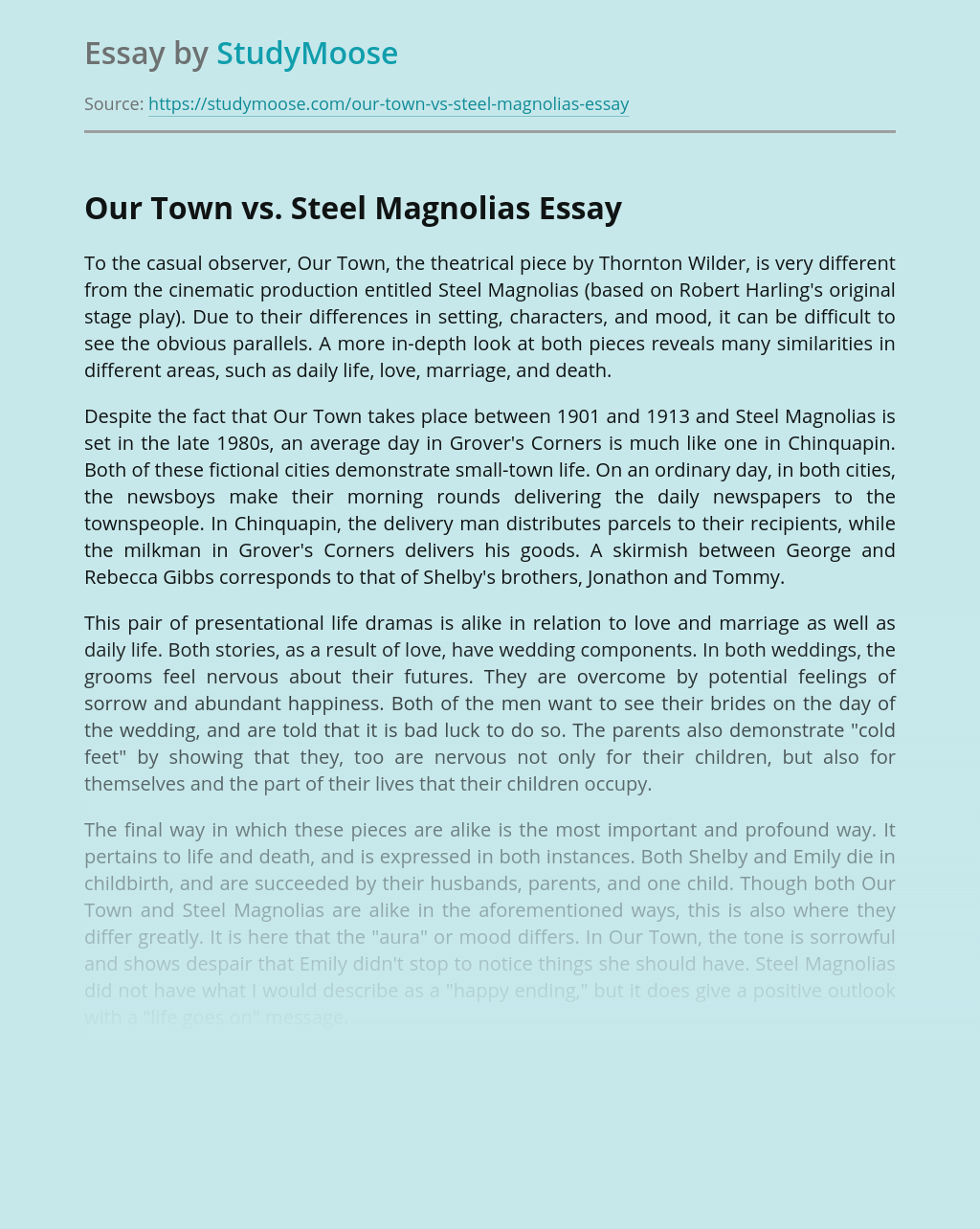 Our Town vs. Steel Magnolias