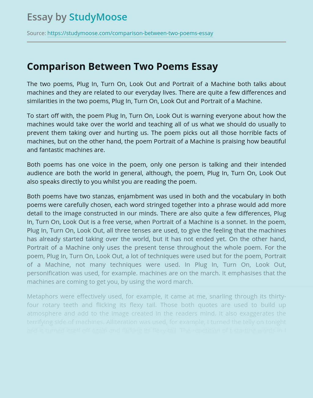Comparison Between Two Poems