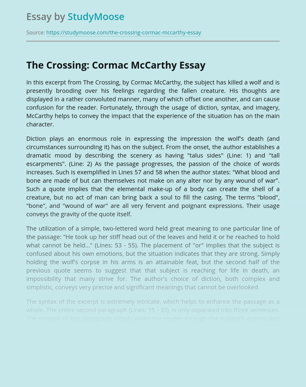 The Crossing: Cormac McCarthy
