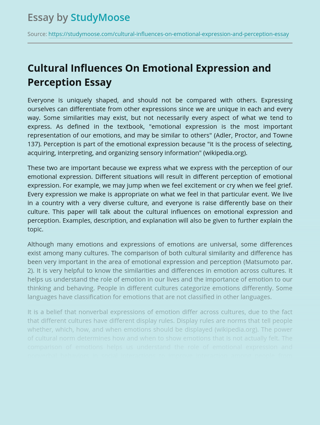 Cultural Influences On Emotional Expression and Perception