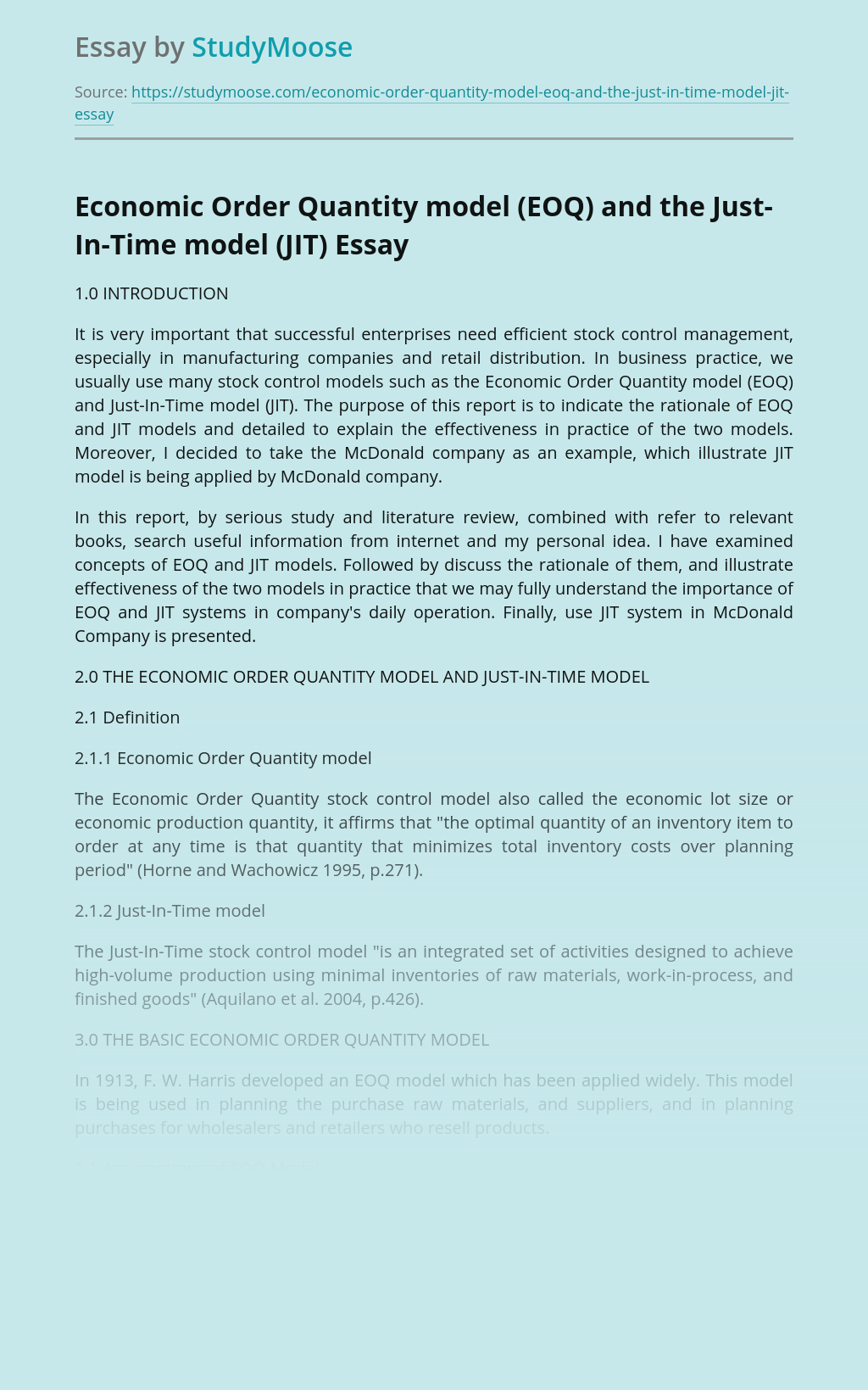Economic Order Quantity model (EOQ) and the Just-In-Time model (JIT)