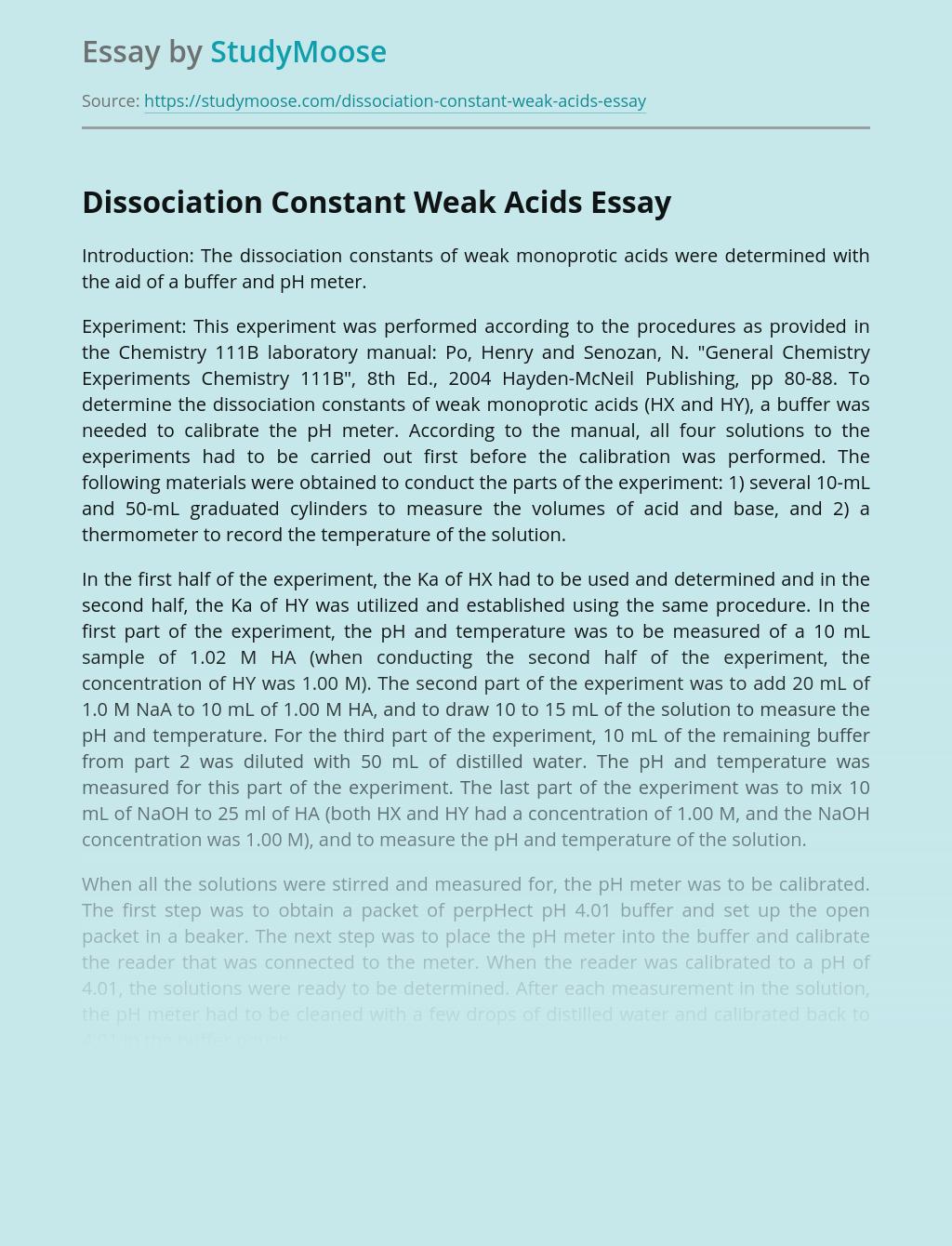 Dissociation Constant Weak Acids