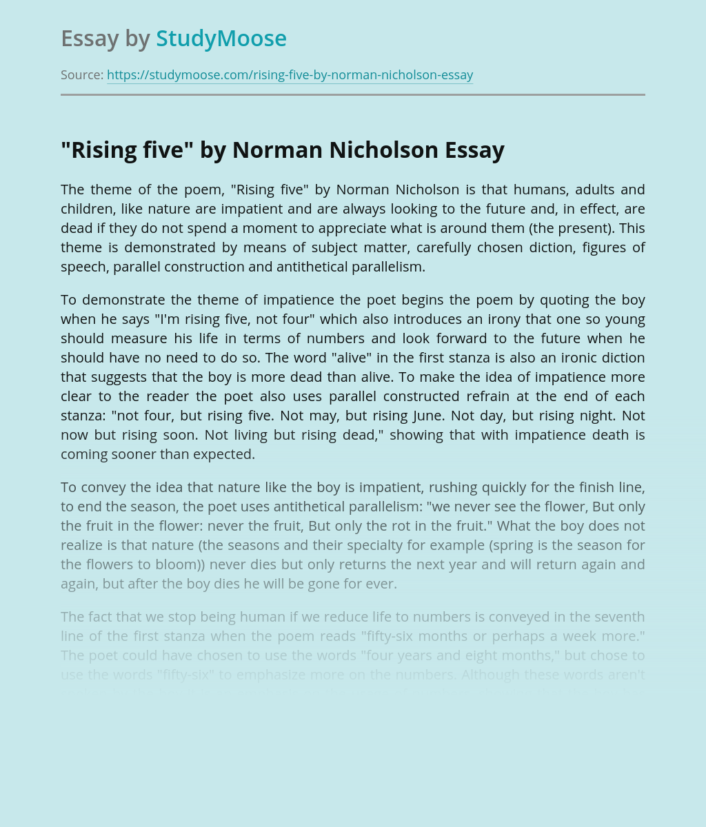 A Poem Rising Five by Norman Nicholson