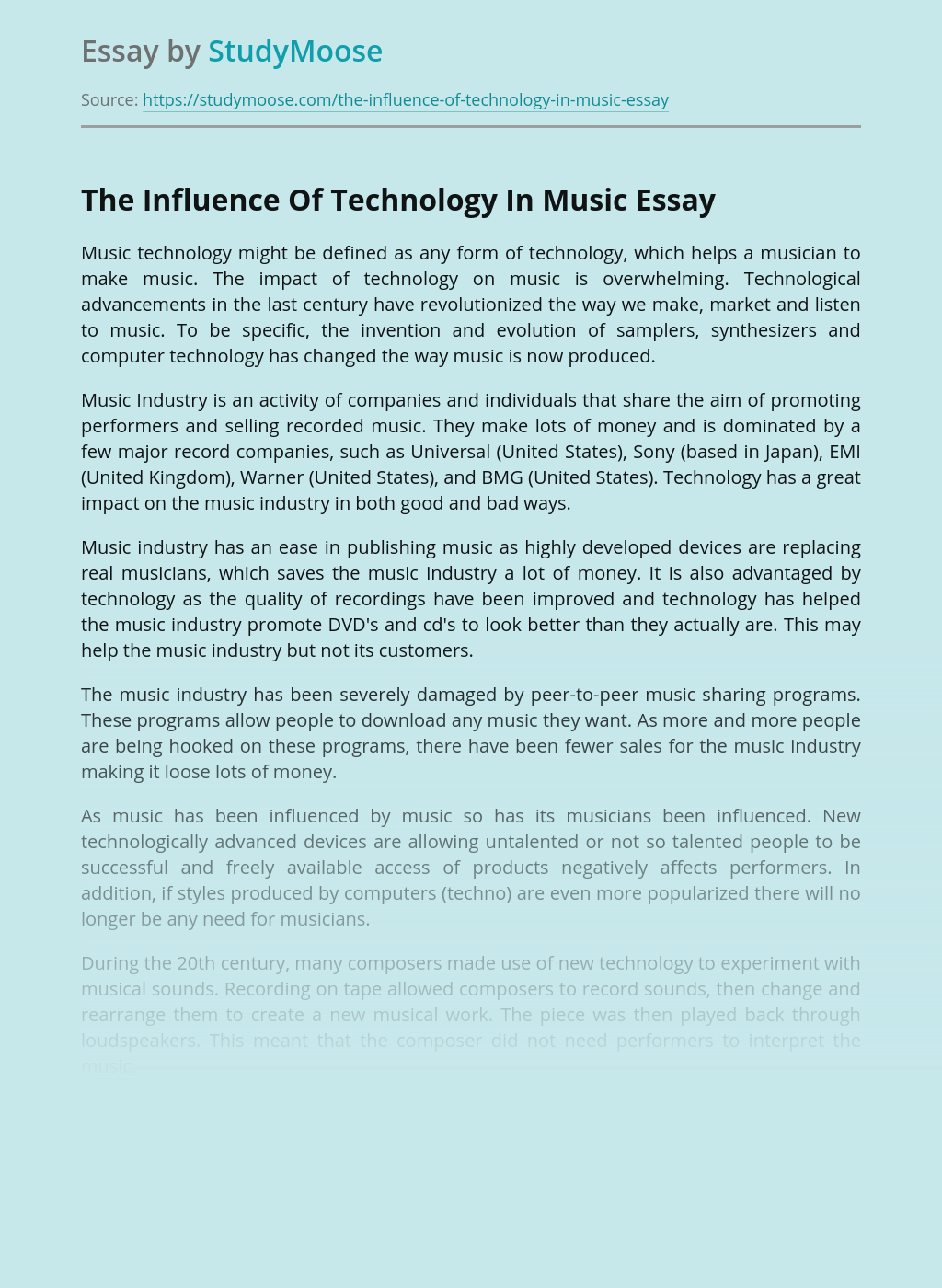 The Influence Of Technology In Music