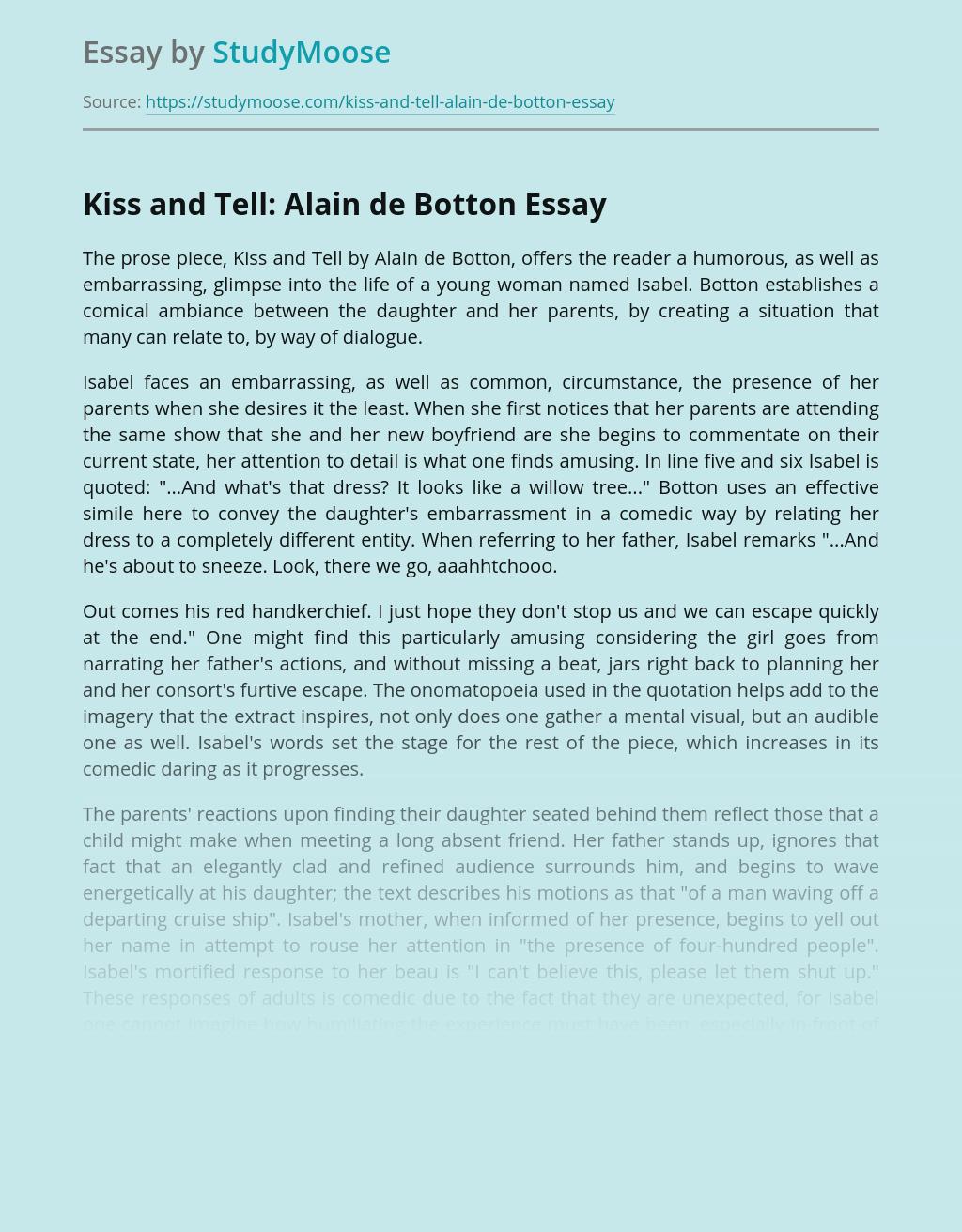 Kiss and Tell: Alain de Botton