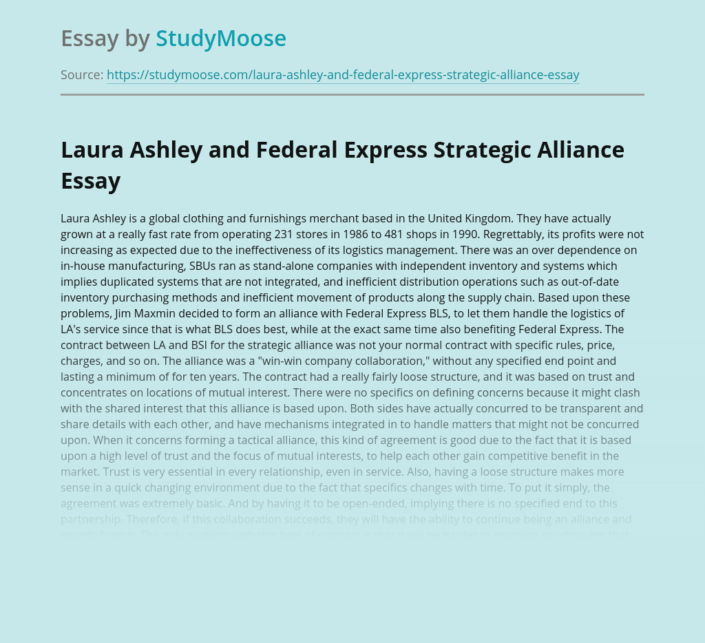 Laura Ashley and Federal Express Strategic Alliance
