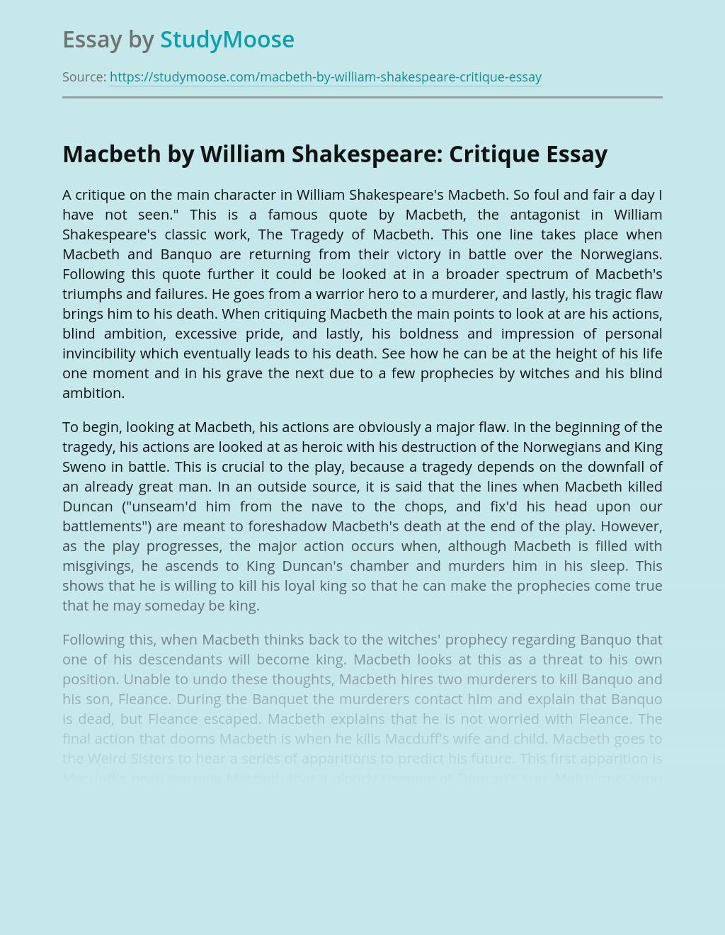 Macbeth by William Shakespeare: Critique