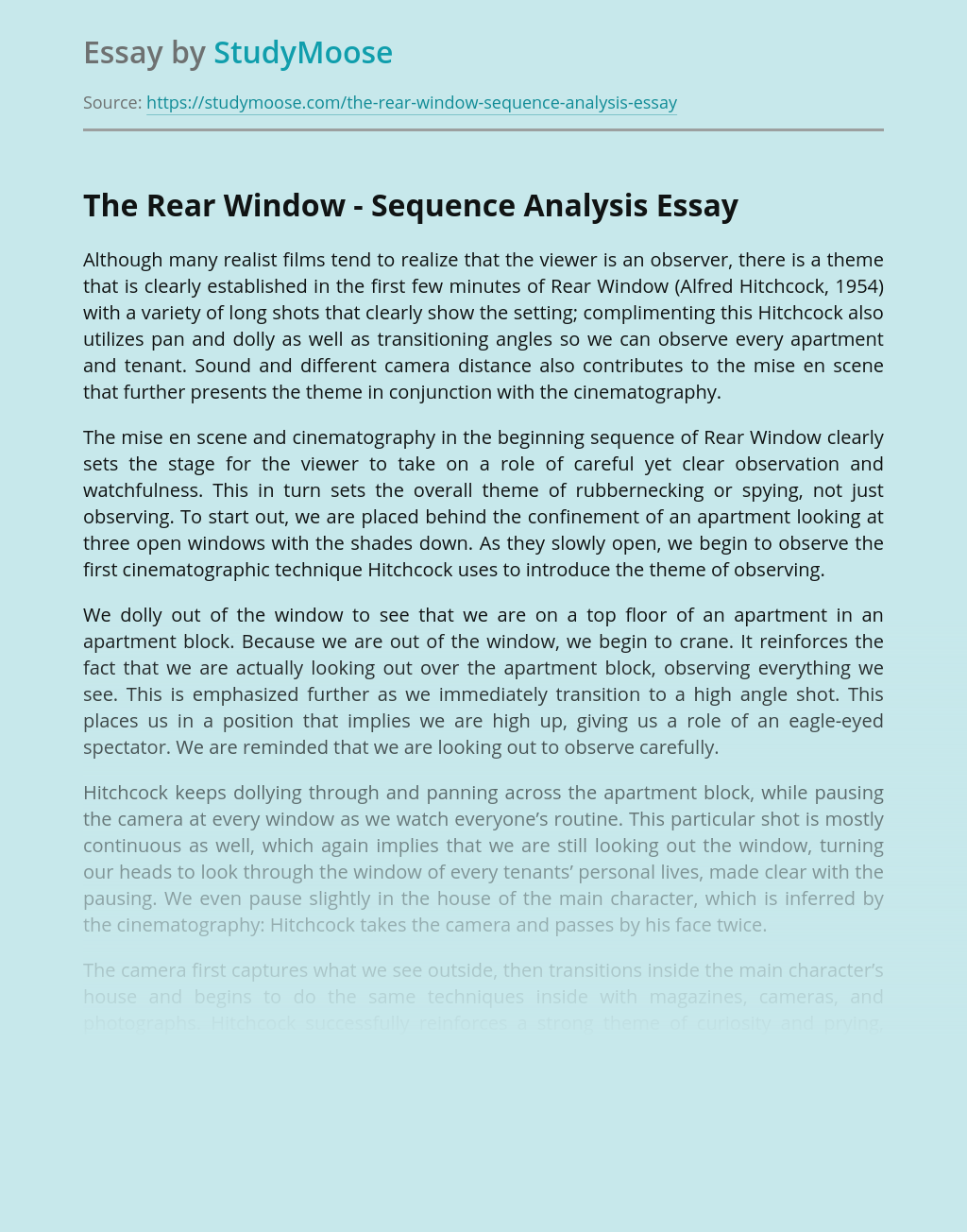 The Rear Window - Sequence Analysis