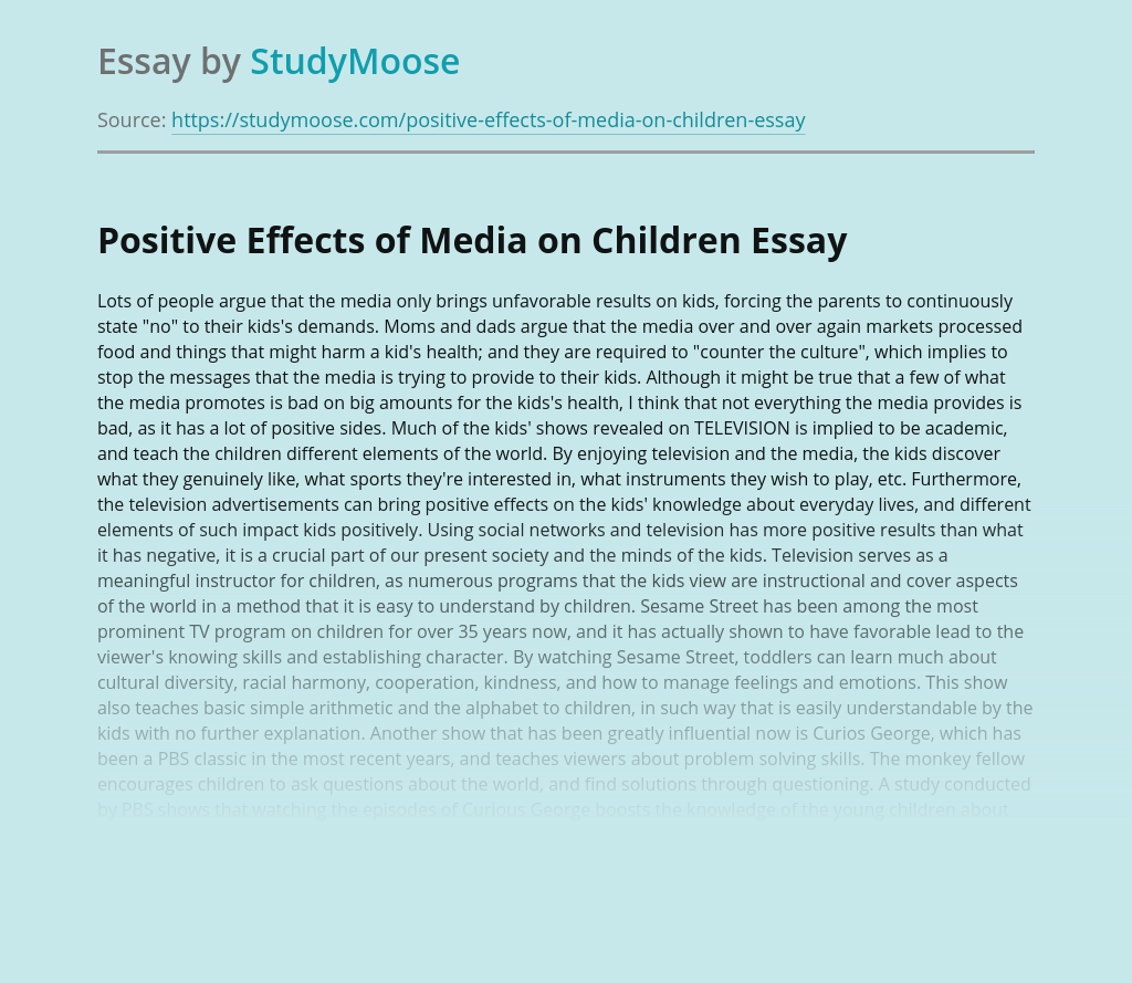 Positive Effects of Media on Children