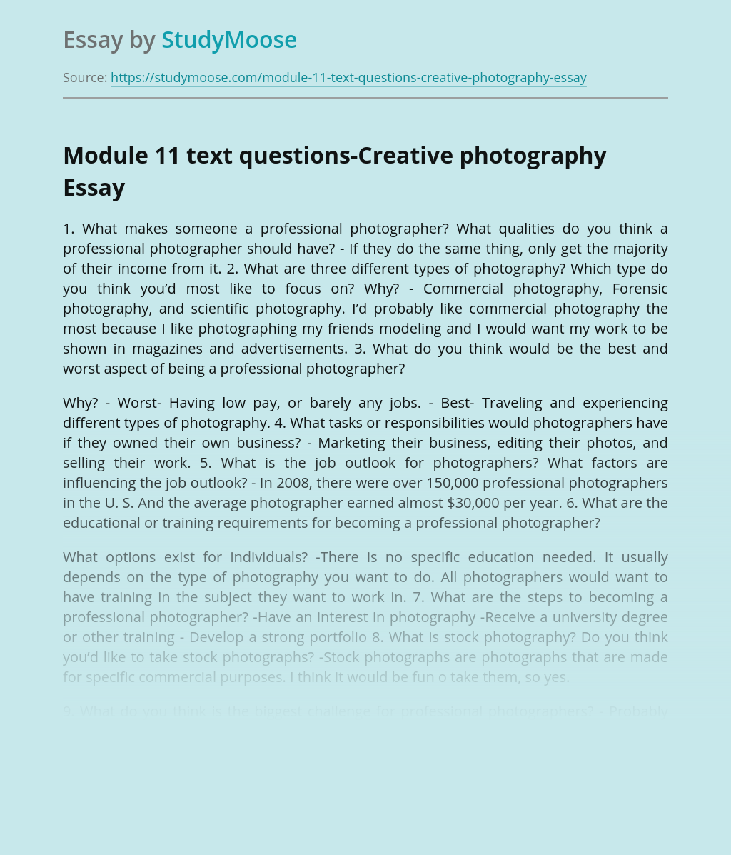 Module 11 text questions-Creative photography
