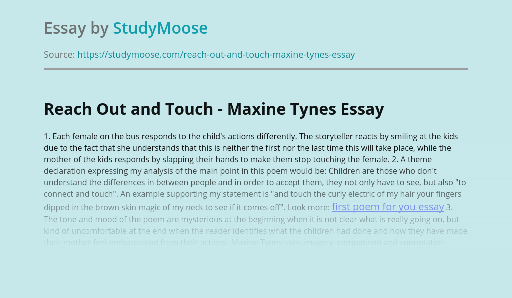 Reach Out and Touch - Maxine Tynes